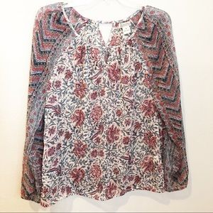 Lucky Brand sheer floral blouse